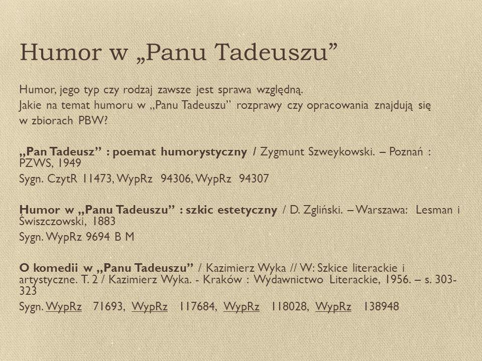 """Humor w """"Panu Tadeuszu"""