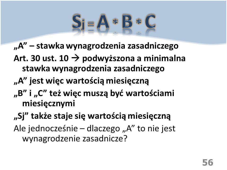 """Sj = A * B * C """"A – stawka wynagrodzenia zasadniczego"""