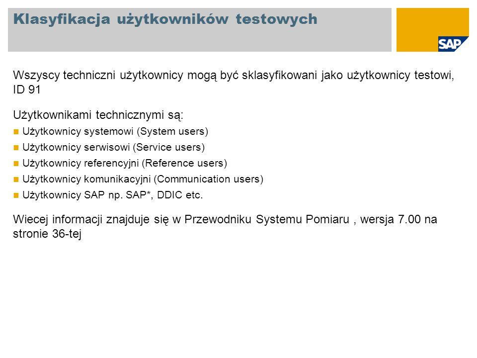 Klasyfikacja użytkowników testowych