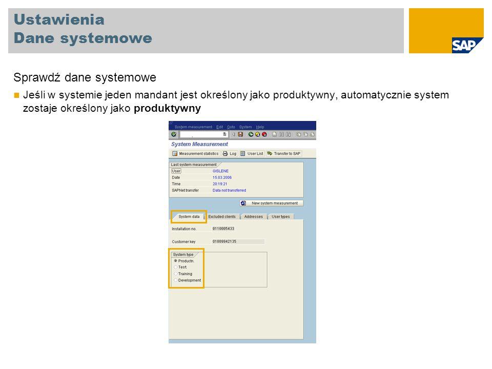 Ustawienia Dane systemowe