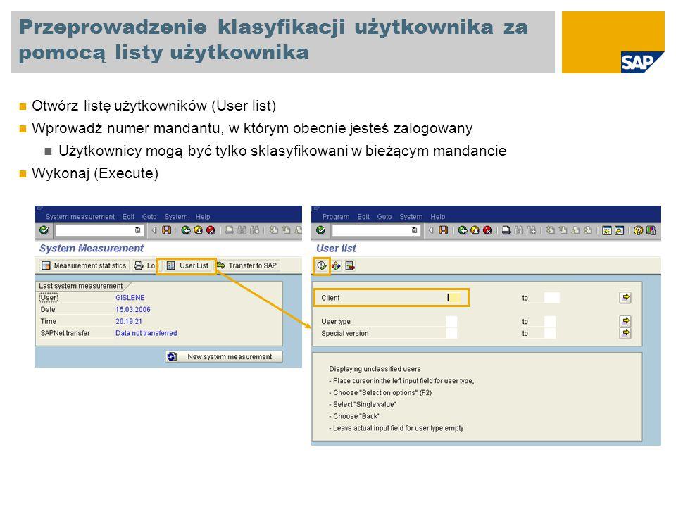 Przeprowadzenie klasyfikacji użytkownika za pomocą listy użytkownika