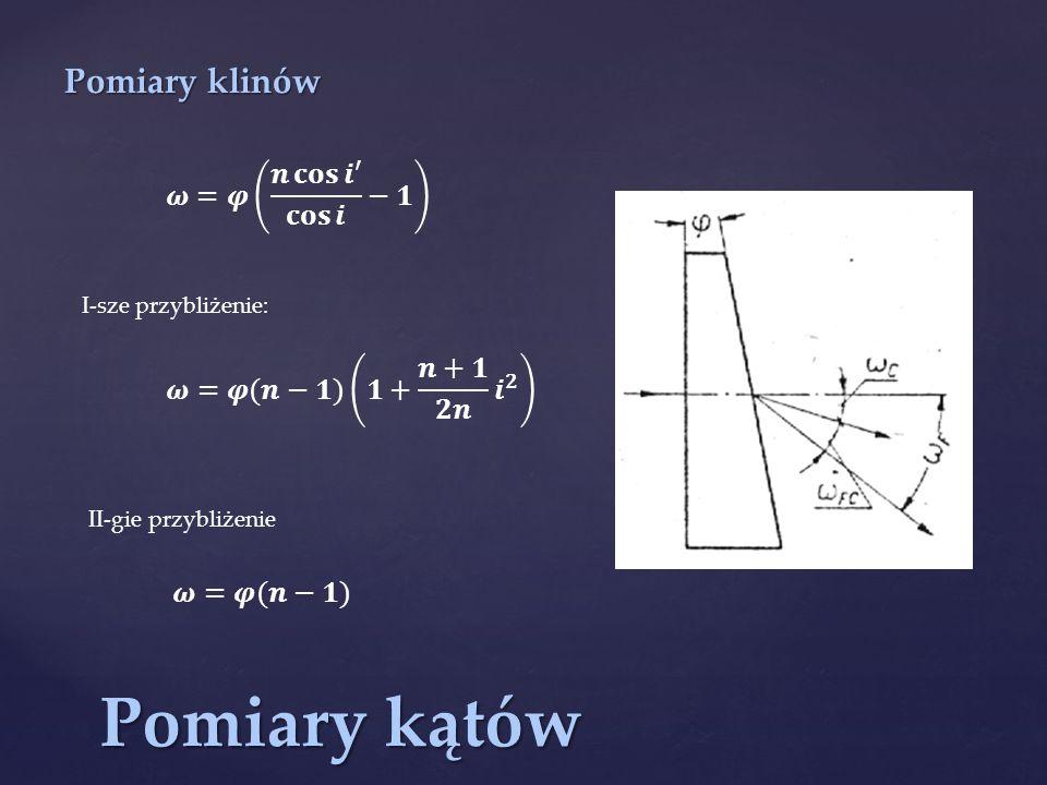 Pomiary kątów Pomiary klinów 𝝎=𝝋 𝒏 𝐜𝐨𝐬 𝒊′ 𝐜𝐨𝐬 𝒊 −𝟏