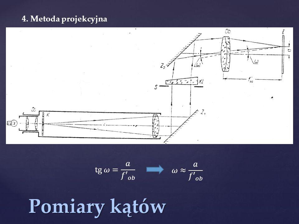 4. Metoda projekcyjna tg 𝜔= 𝑎 𝑓′ 𝑜𝑏 𝜔≈ 𝑎 𝑓′ 𝑜𝑏 Pomiary kątów