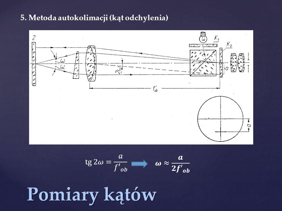 Pomiary kątów 5. Metoda autokolimacji (kąt odchylenia) tg 2𝜔= 𝑎 𝑓′ 𝑜𝑏