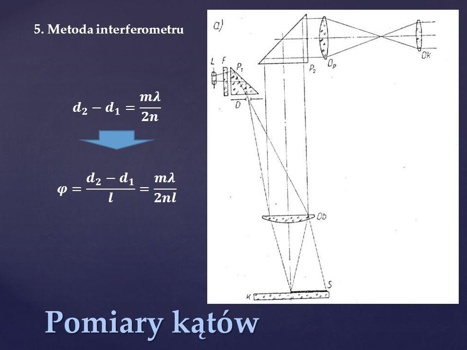 Pomiary kątów 𝒅 𝟐 − 𝒅 𝟏 = 𝒎𝝀 𝟐𝒏 𝝋= 𝒅 𝟐 − 𝒅 𝟏 𝒍 = 𝒎𝝀 𝟐𝒏𝒍