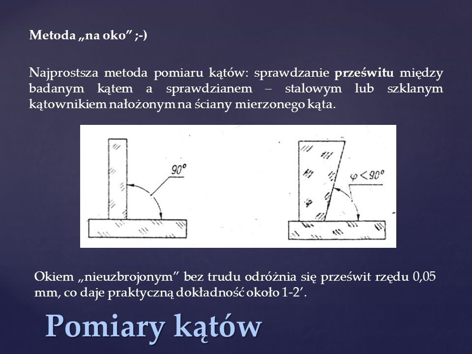 """Pomiary kątów Metoda """"na oko ;-)"""