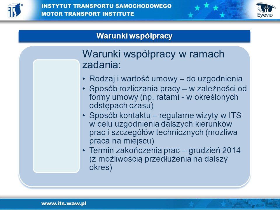Warunki współpracy w ramach zadania: