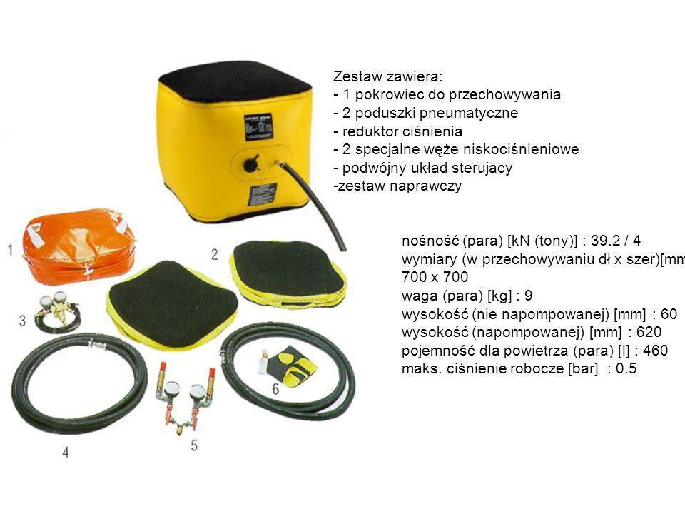 Zestaw zawiera: - 1 pokrowiec do przechowywania. 2 poduszki pneumatyczne. - reduktor ciśnienia. - 2 specjalne węże niskociśnieniowe.