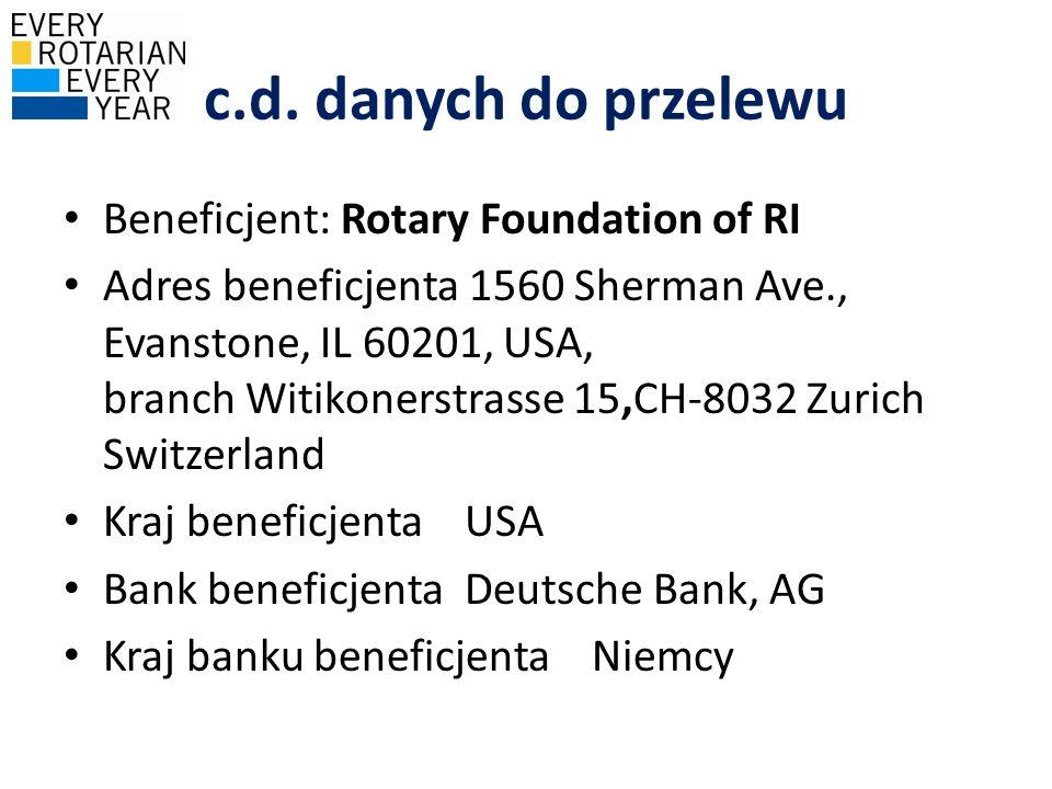 c.d. danych do przelewu Beneficjent: Rotary Foundation of RI