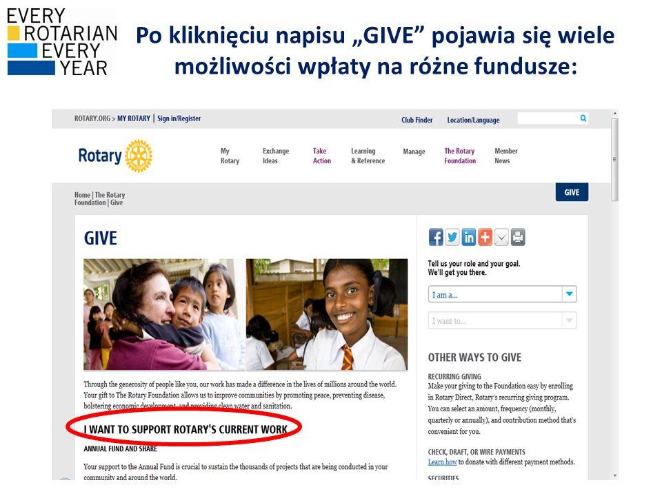 """Po kliknięciu napisu """"GIVE pojawia się wiele możliwości wpłaty na różne fundusze:"""