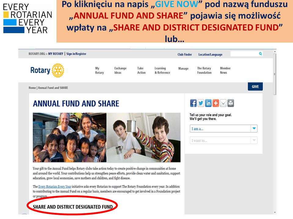 """Po kliknięciu na napis """"GIVE NOW pod nazwą funduszu """"ANNUAL FUND AND SHARE pojawia się możliwość wpłaty na """"SHARE AND DISTRICT DESIGNATED FUND lub…"""