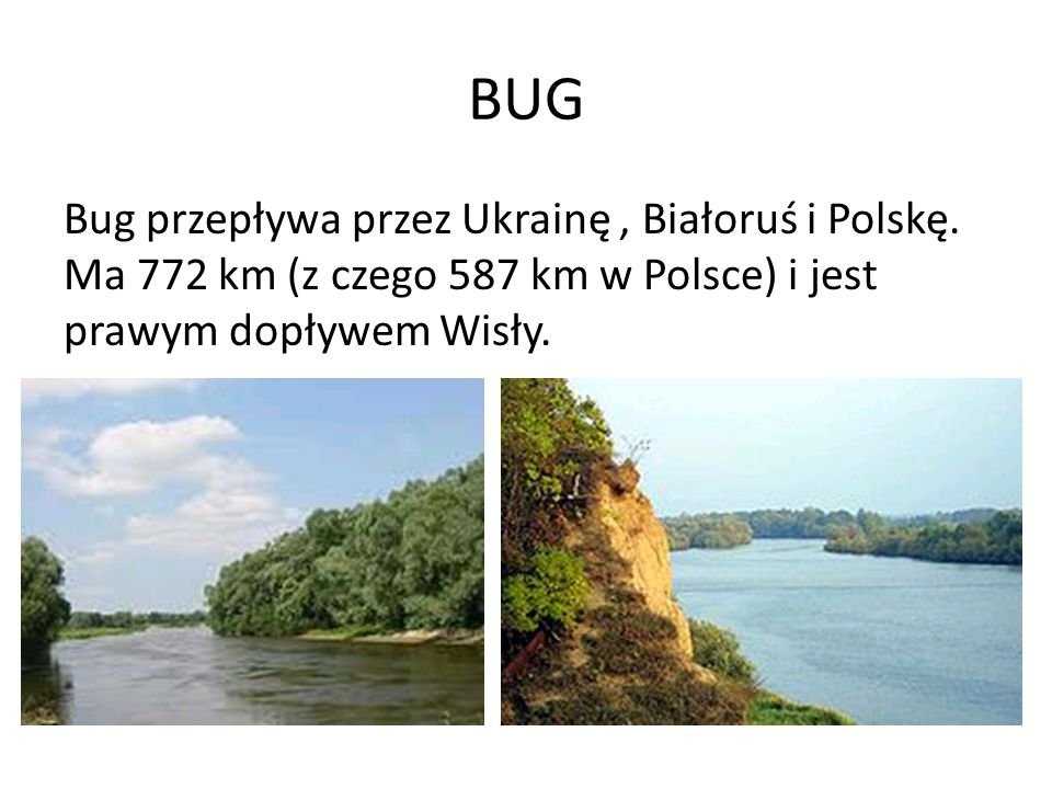 BUG Bug przepływa przez Ukrainę , Białoruś i Polskę.