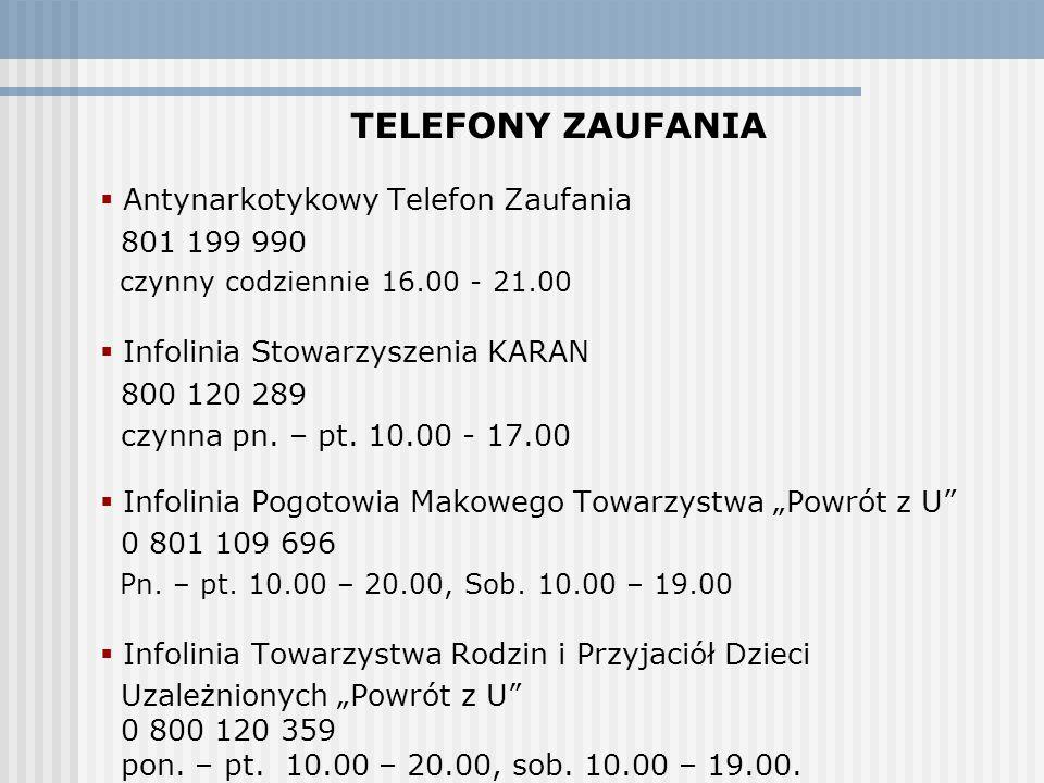 TELEFONY ZAUFANIA Antynarkotykowy Telefon Zaufania 801 199 990