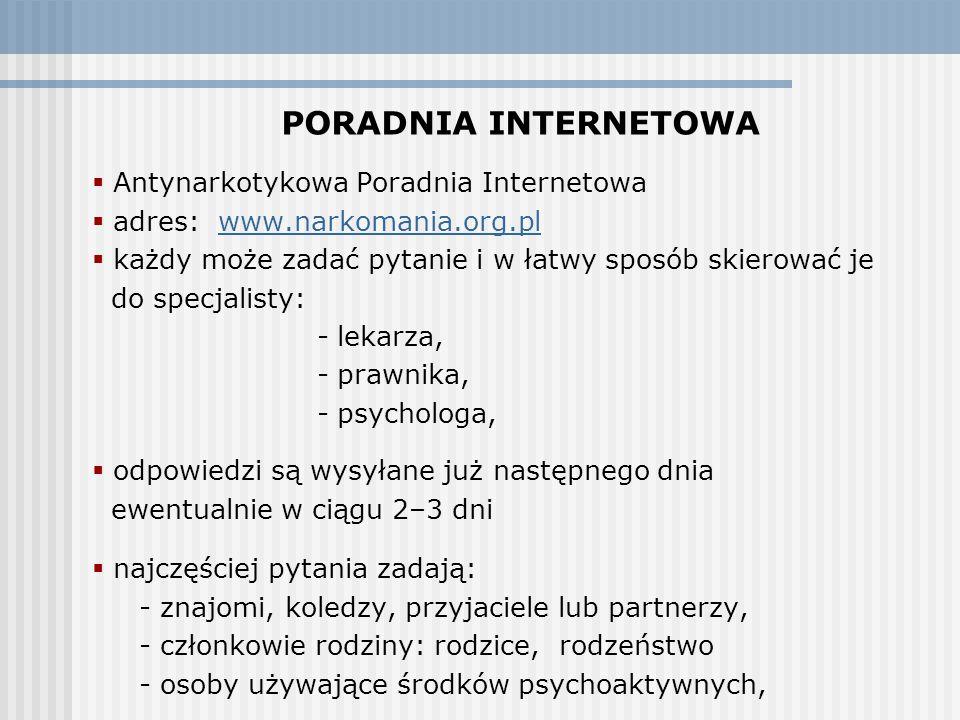 PORADNIA INTERNETOWA Antynarkotykowa Poradnia Internetowa