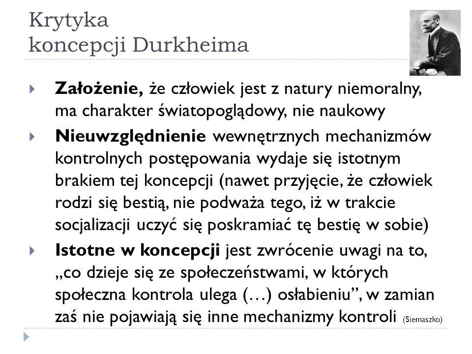Krytyka koncepcji Durkheima