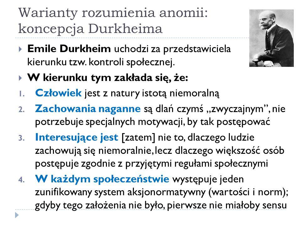 Warianty rozumienia anomii: koncepcja Durkheima
