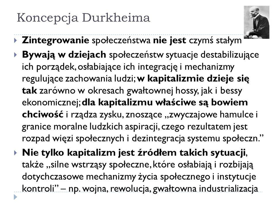 Koncepcja Durkheima Zintegrowanie społeczeństwa nie jest czymś stałym
