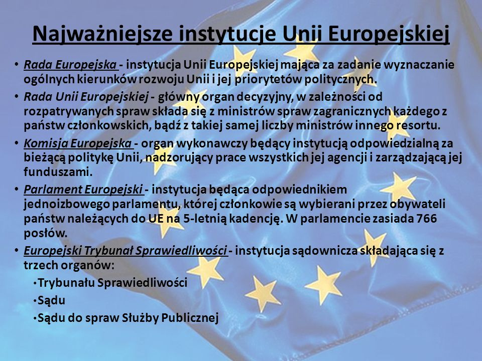 Najważniejsze instytucje Unii Europejskiej