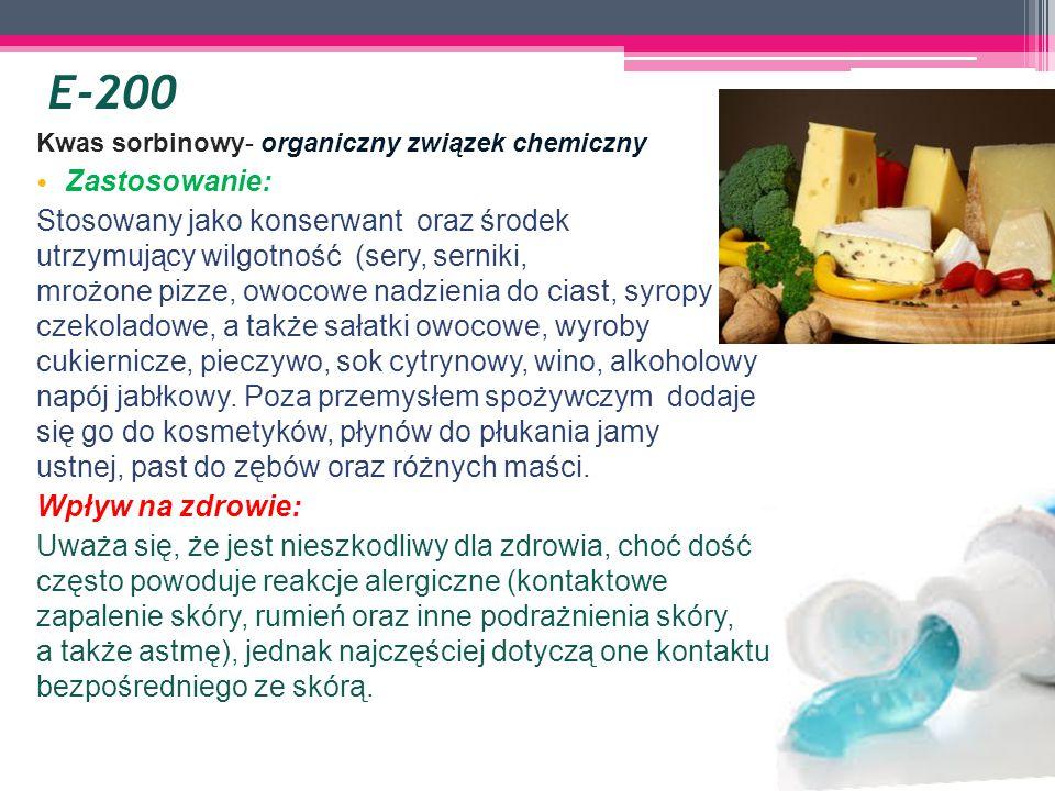 E-200 Kwas sorbinowy- organiczny związek chemiczny. Zastosowanie: