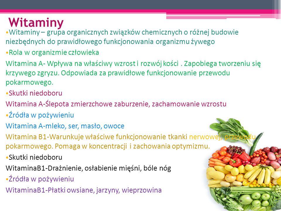 Witaminy Witaminy – grupa organicznych związków chemicznych o różnej budowie niezbędnych do prawidłowego funkcjonowania organizmu żywego.