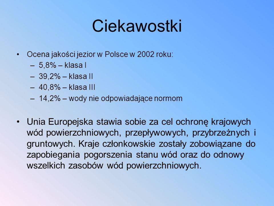 Ciekawostki Ocena jakości jezior w Polsce w 2002 roku: 5,8% – klasa I. 39,2% – klasa II. 40,8% – klasa III.
