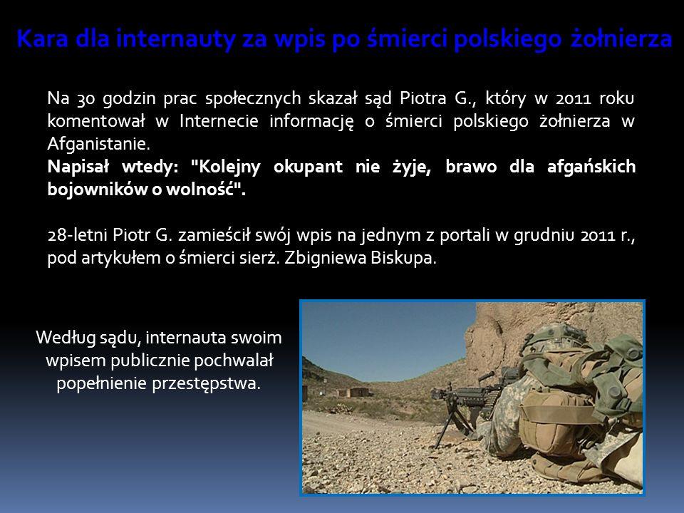 Kara dla internauty za wpis po śmierci polskiego żołnierza