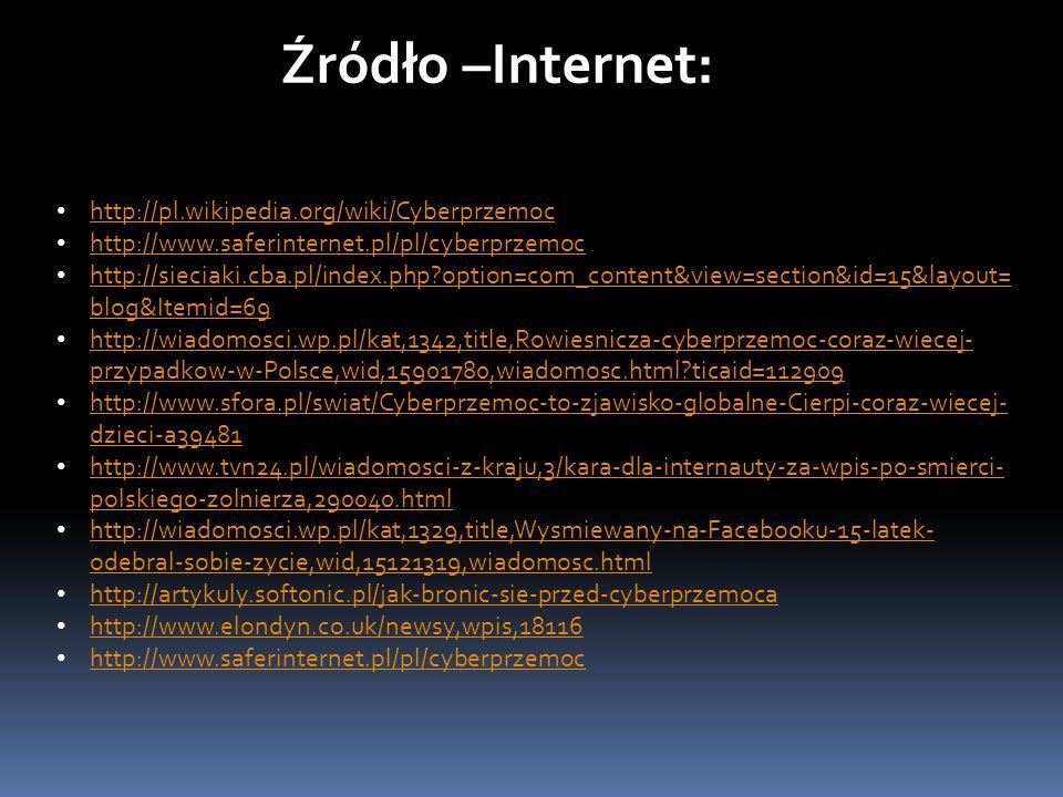 Źródło –Internet: http://pl.wikipedia.org/wiki/Cyberprzemoc