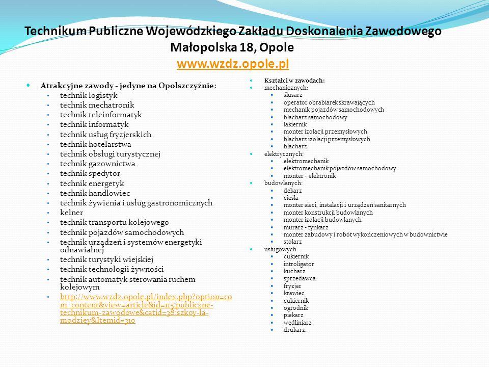 Technikum Publiczne Wojewódzkiego Zakładu Doskonalenia Zawodowego Małopolska 18, Opole  www.wzdz.opole.pl