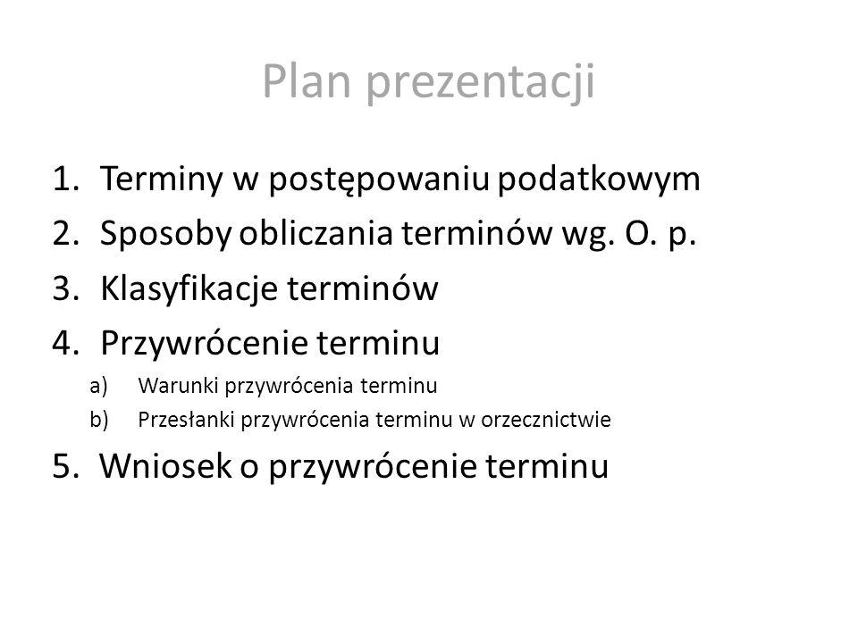 Plan prezentacji Terminy w postępowaniu podatkowym