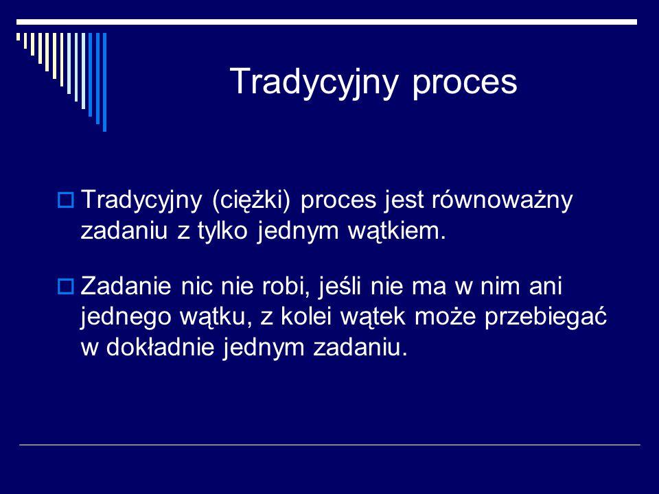 Tradycyjny proces Tradycyjny (ciężki) proces jest równoważny zadaniu z tylko jednym wątkiem.