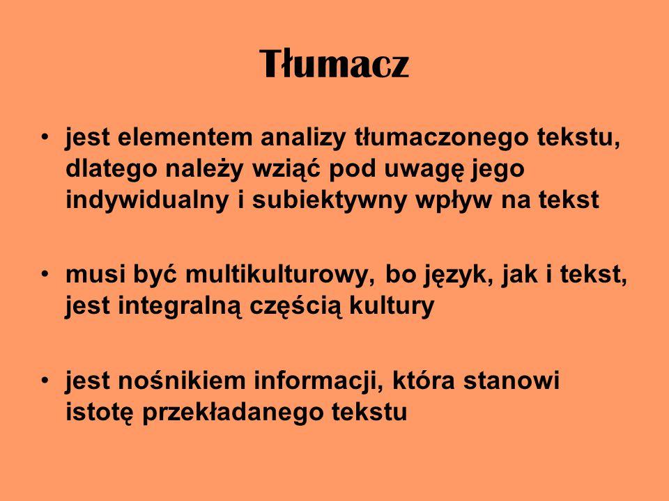 Tłumacz jest elementem analizy tłumaczonego tekstu, dlatego należy wziąć pod uwagę jego indywidualny i subiektywny wpływ na tekst.