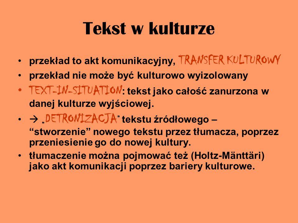 Tekst w kulturze przekład to akt komunikacyjny, TRANSFER KULTUROWY. przekład nie może być kulturowo wyizolowany.