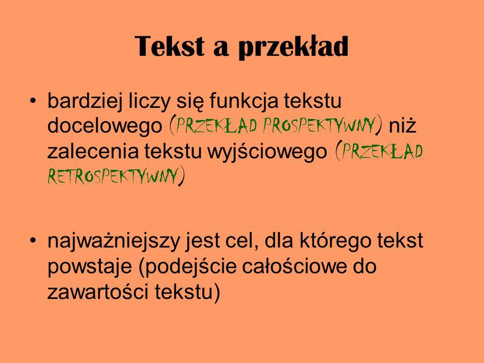 Tekst a przekład bardziej liczy się funkcja tekstu docelowego (PRZEKŁAD PROSPEKTYWNY) niż zalecenia tekstu wyjściowego (PRZEKŁAD RETROSPEKTYWNY)