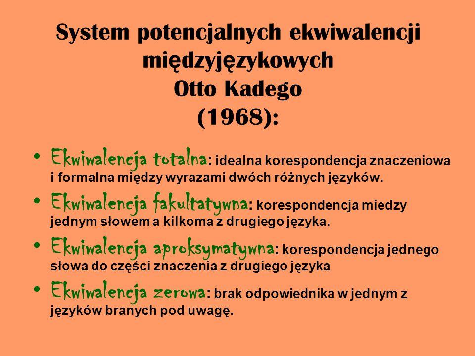 System potencjalnych ekwiwalencji międzyjęzykowych Otto Kadego (1968):