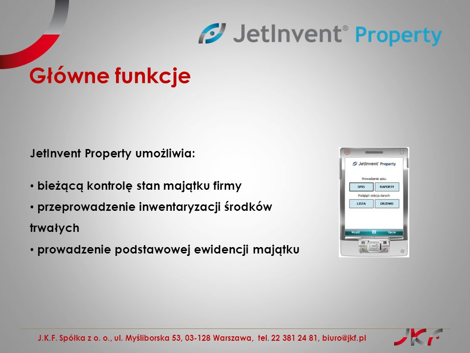 Główne funkcje JetInvent Property umożliwia: