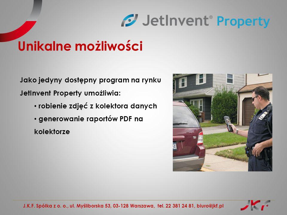 Unikalne możliwości Jako jedyny dostępny program na rynku JetInvent Property umożliwia: robienie zdjęć z kolektora danych.