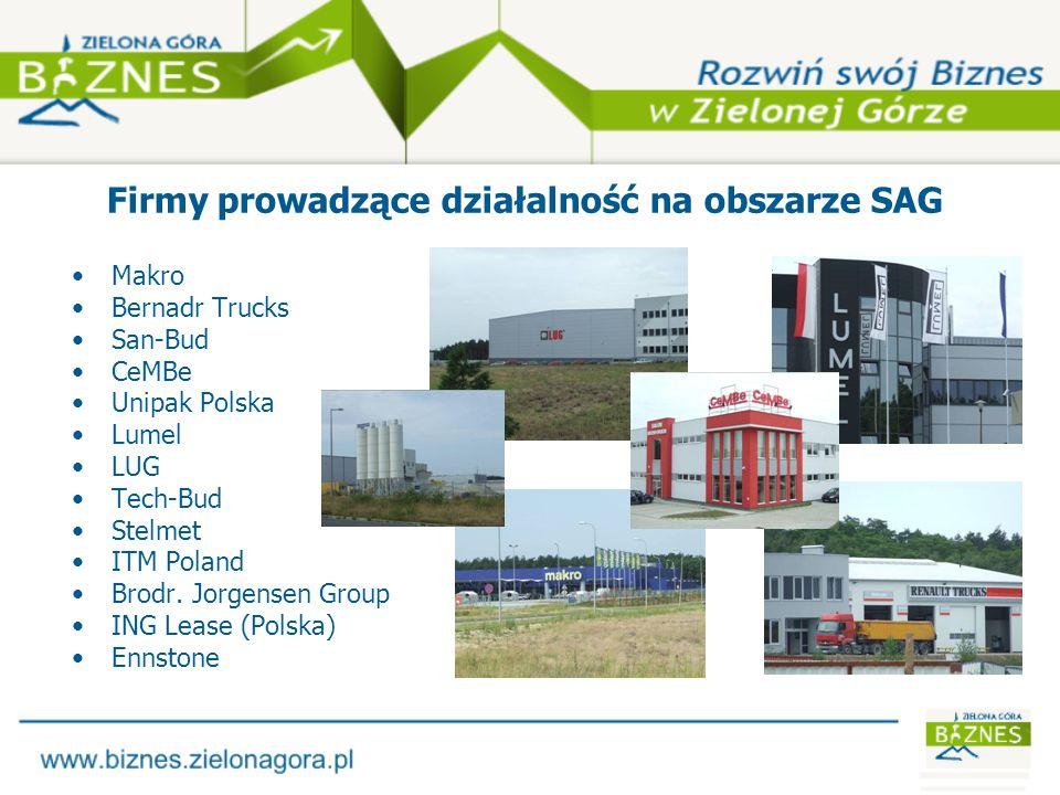 Firmy prowadzące działalność na obszarze SAG