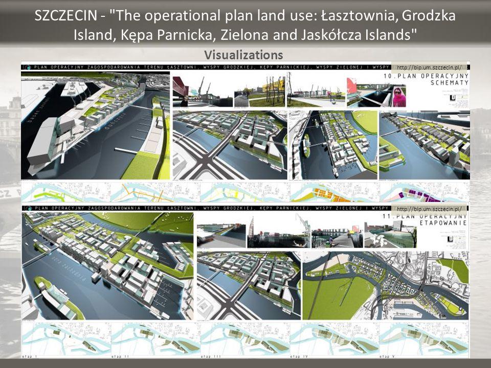 SZCZECIN - The operational plan land use: Łasztownia, Grodzka Island, Kępa Parnicka, Zielona and Jaskółcza Islands