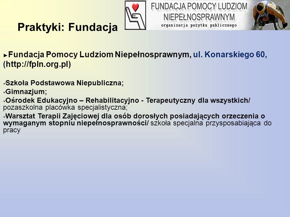 Praktyki: Fundacja Fundacja Pomocy Ludziom Niepełnosprawnym, ul. Konarskiego 60, (http://fpln.org.pl)