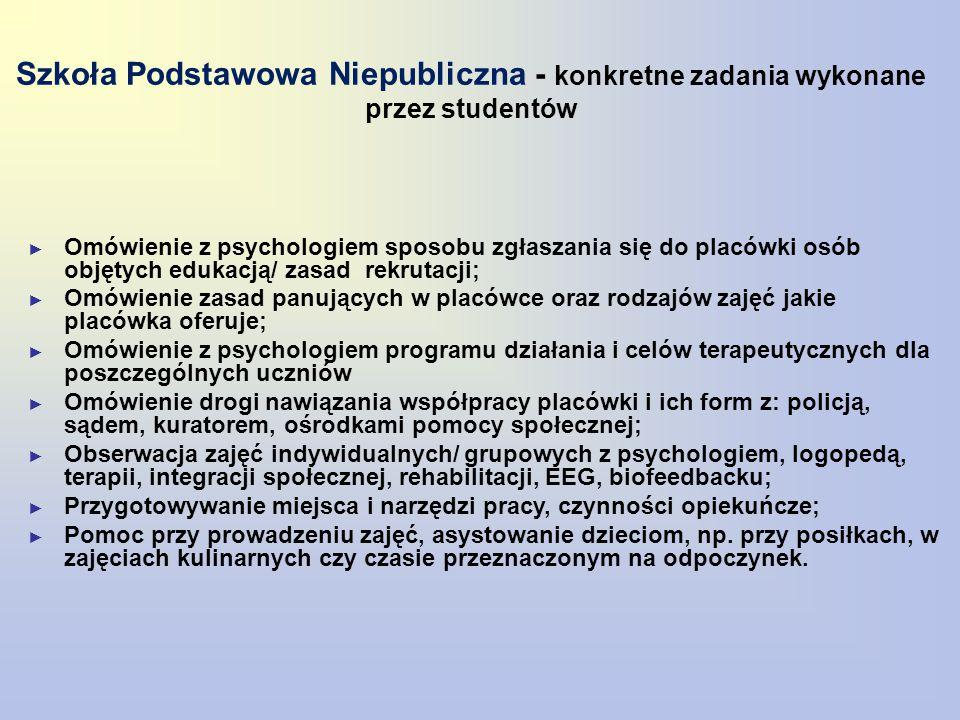 Szkoła Podstawowa Niepubliczna - konkretne zadania wykonane przez studentów