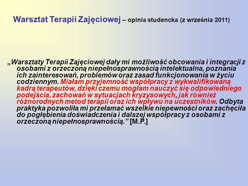 Warsztat Terapii Zajęciowej – opinia studencka (z września 2011)