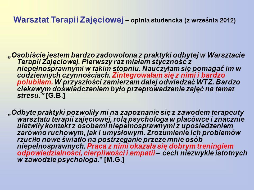 Warsztat Terapii Zajęciowej – opinia studencka (z września 2012)