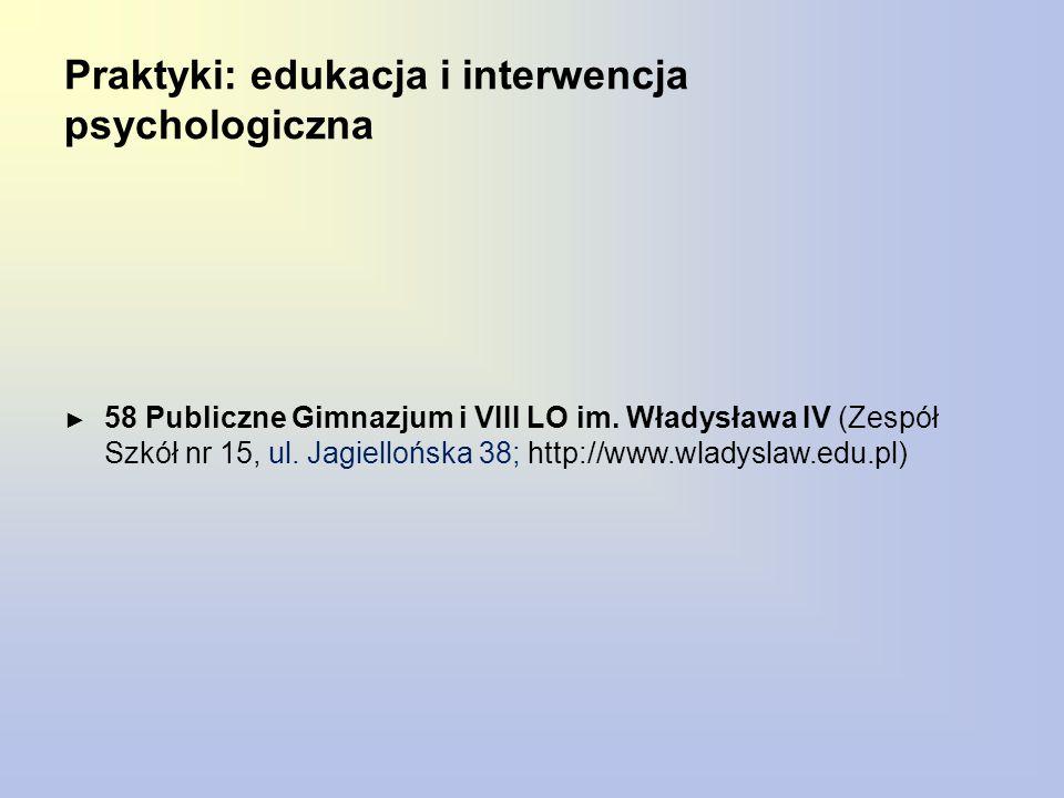 Praktyki: edukacja i interwencja psychologiczna