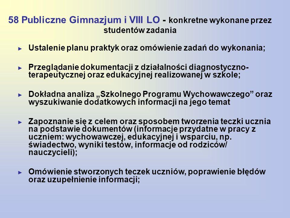 58 Publiczne Gimnazjum i VIII LO - konkretne wykonane przez studentów zadania