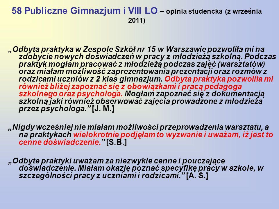 58 Publiczne Gimnazjum i VIII LO – opinia studencka (z września 2011)