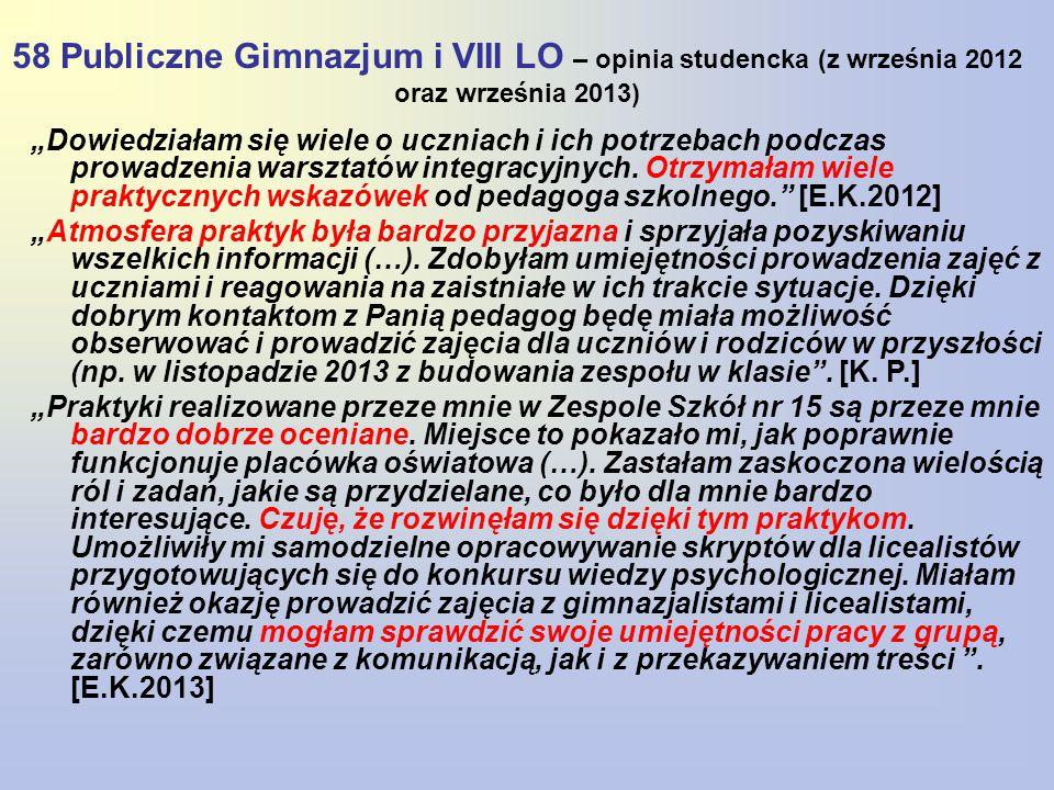 58 Publiczne Gimnazjum i VIII LO – opinia studencka (z września 2012 oraz września 2013)