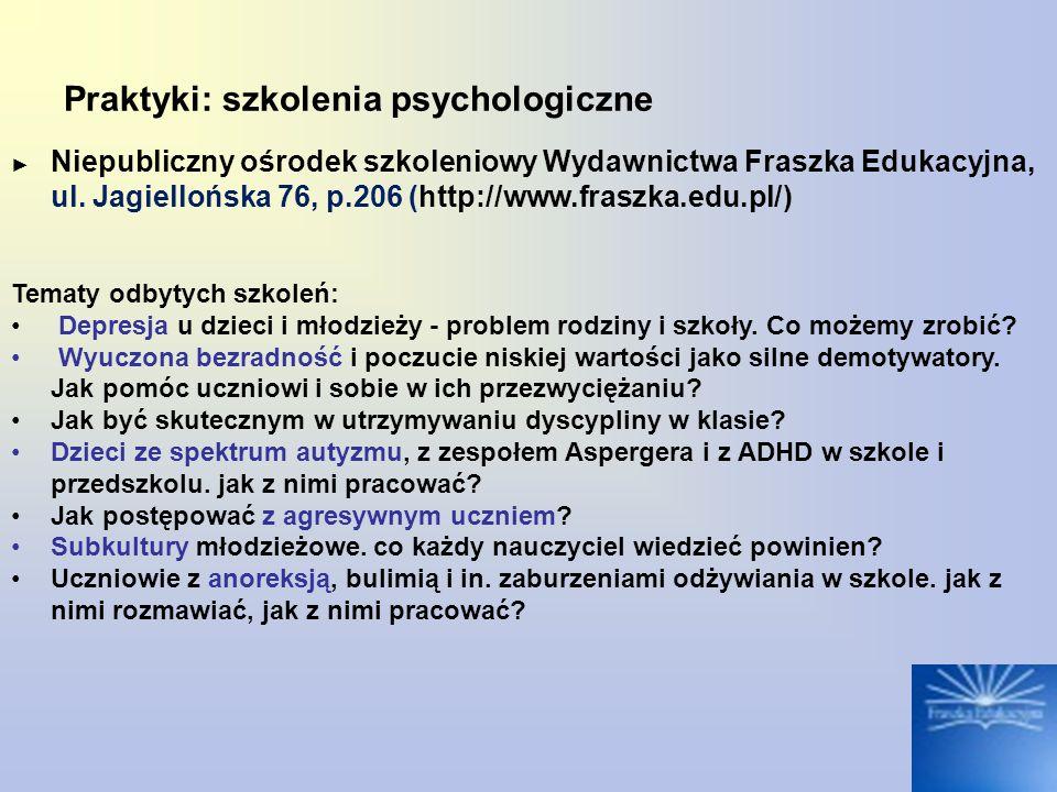 Praktyki: szkolenia psychologiczne