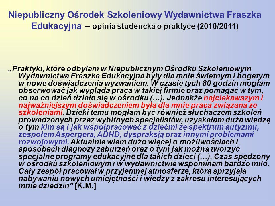 Niepubliczny Ośrodek Szkoleniowy Wydawnictwa Fraszka Edukacyjna – opinia studencka o praktyce (2010/2011)