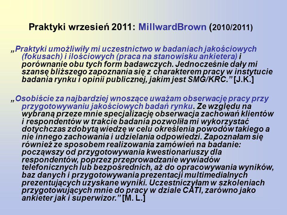 Praktyki wrzesień 2011: MillwardBrown (2010/2011)