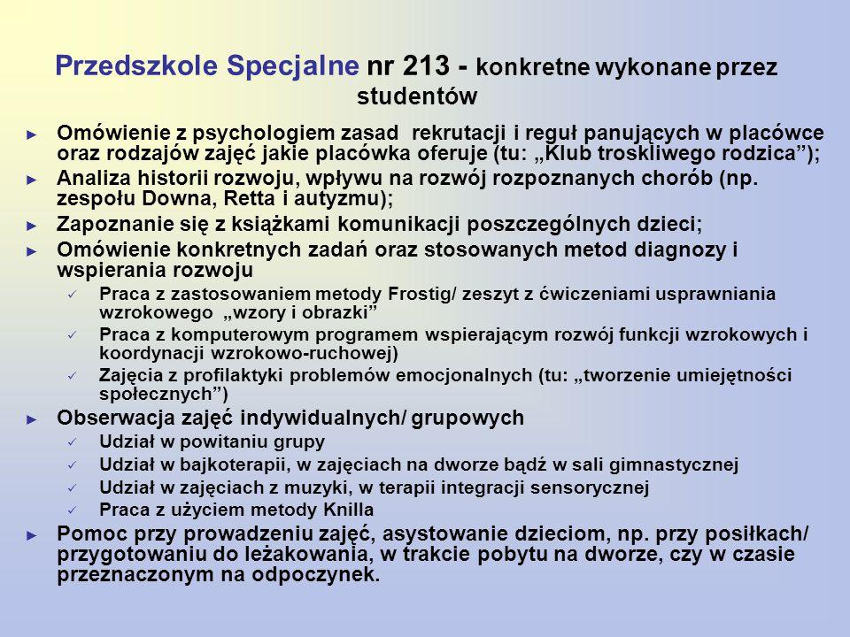 Przedszkole Specjalne nr 213 - konkretne wykonane przez studentów